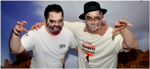 "25 years later: Donald (left) and Michael (right) at Trudy's Bowl for Kids 2014 (the theme was ""Cowboys vs Zombies"")."